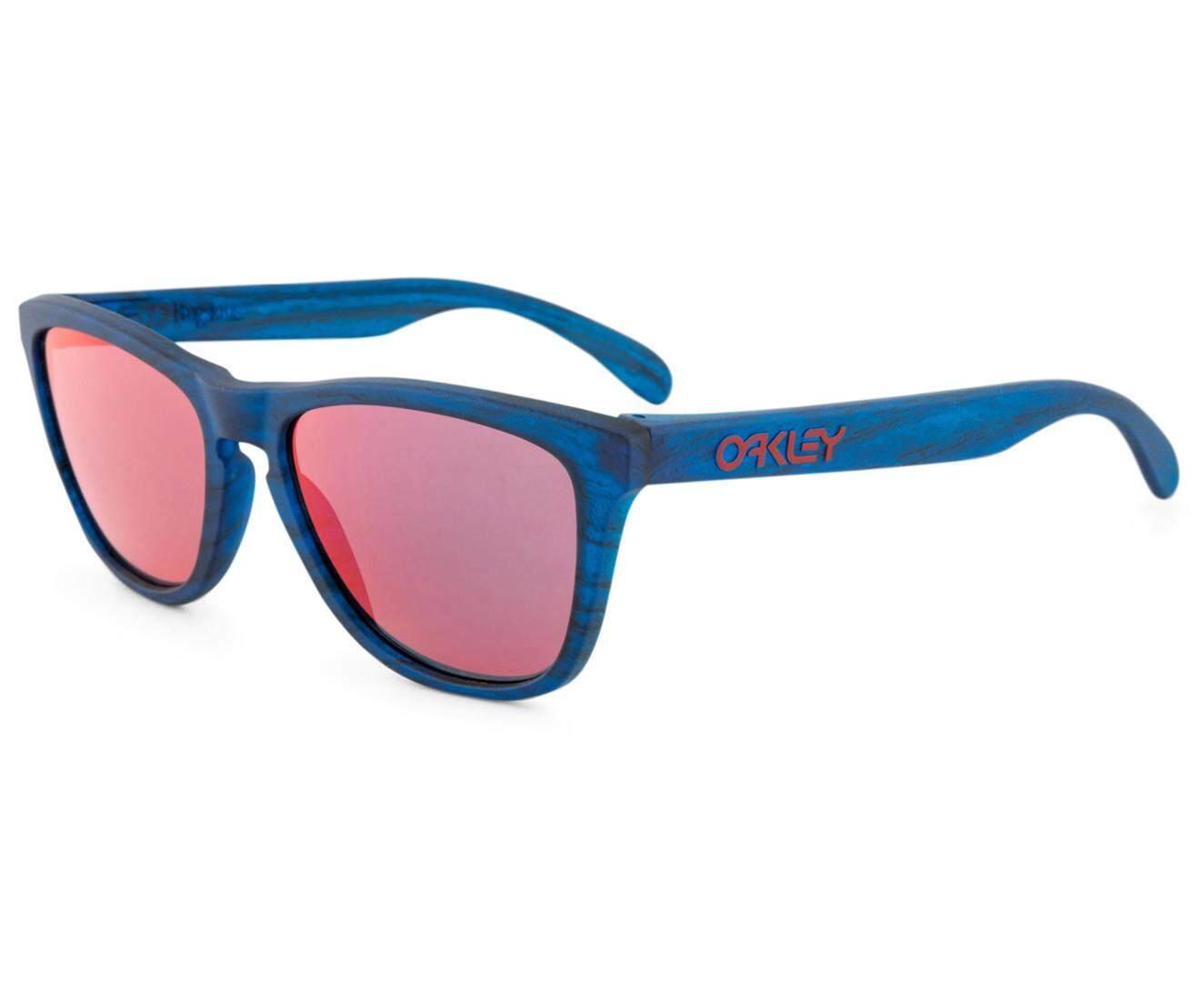 Oakley Men's Frogskins Sunglasses Blue Woodgrain/Torch