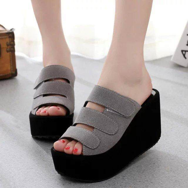 1004 Ready Stock Mila Women Strap Velcro Casual High Heels Shoes Wedges Sandal (pink/ Black/ Grey) - Free Gift With Every Unit By Formikoonline.