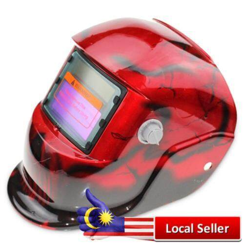 SOLAR ENERGY AUTOMATIC CHANGEABLE LIGHT ELECTRIC WELDING PROTECTIVE HELMET WITH SOLID COLOR TYPE (RED)