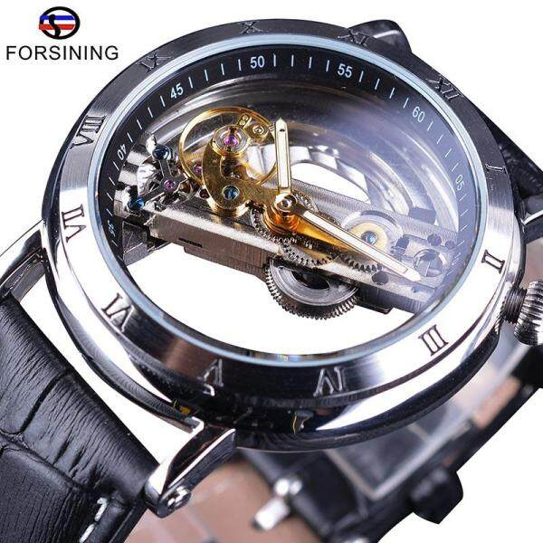 Forsining 2018 Minimalism Design Silver Steel Waterproof Steampunk Wrist Watch Mens Automatic Skeleton Watches +BOX KK88 Malaysia