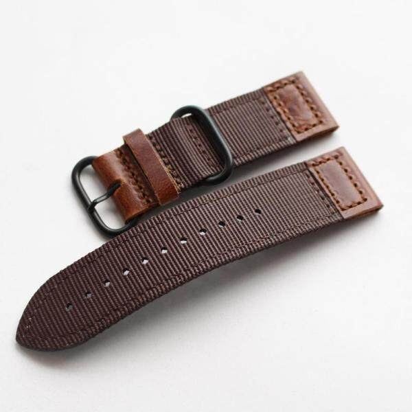Suitable for Outdoor Army Style Watch Strap Summer Breathable Nylon + Genuine Leather 18 20 22 24mm Sports Mens Strap Malaysia