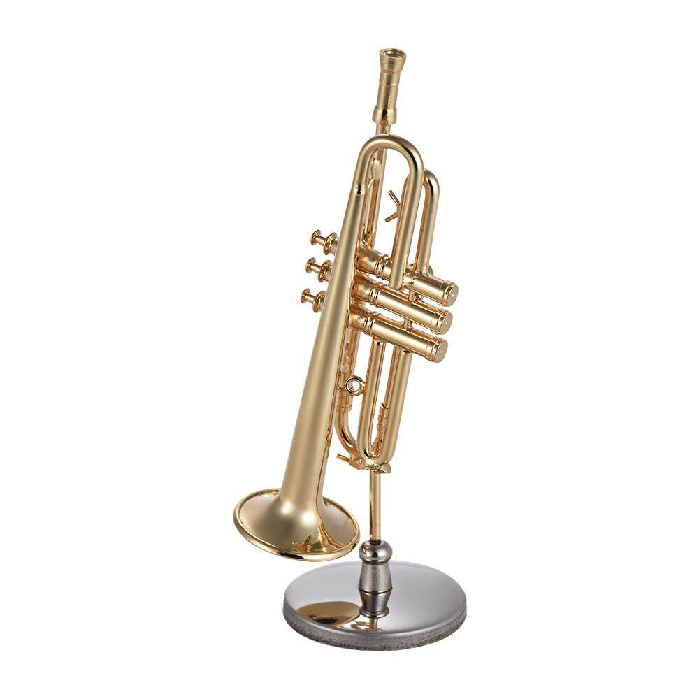 Mini Brass Trumpet Model Exquisite Desktop Musical Instrument Decoration Ornaments Musical Gift with Delicate Box