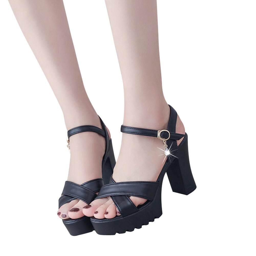 96df9f57ca816a Fergusonshop-Women Fish Mouth Platform High Heels Wedges Sandals Buckle  Slope Sandals