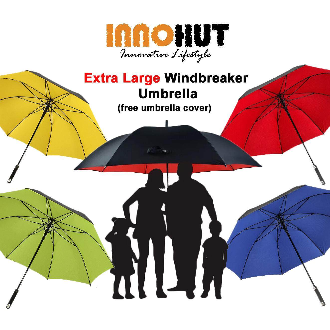 b601fdfaaa22 Innohut Extra Large Double Layer Wind Resisting Umbrella Golf Umbrella