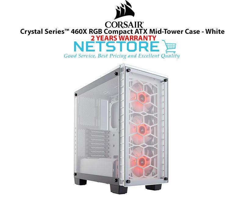 Corsair Crystal Series ™ 460X RGB Compact ATX Mid Tower PC Gaming Dekstop Case White CC-9011129-WW Malaysia