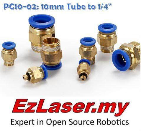 【3 units】PC10-02 10mm Tube to 1/4 Thread Male Connector Pneumatic Air Push In Quick Fittings