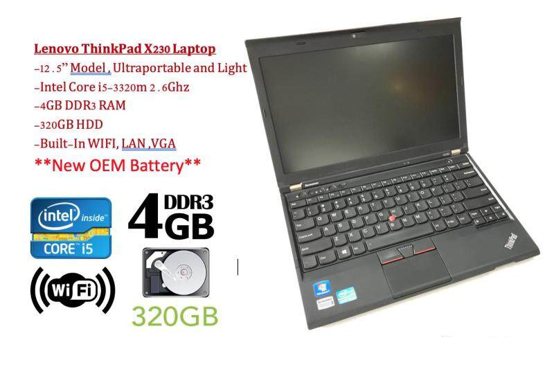 Refurbished Lenovo Thinkpad X230 with New Battery (Core i5 3rd Gen 2.6Ghz / 4GB RAM / 320GB HDD / Win 7 COA / Win 10 Pro / Bag (3 Mth Warranty for Laptop and 1 Mth Warranty for Adaptor and Battery) Used Laptop Notebook Malaysia