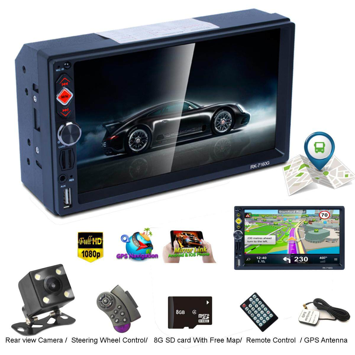 7 Gps Hd Mp5 Player Stereo Radio Bluetooth Fm Rds Quick Charge Mirror Link Cam By Elec Mall.
