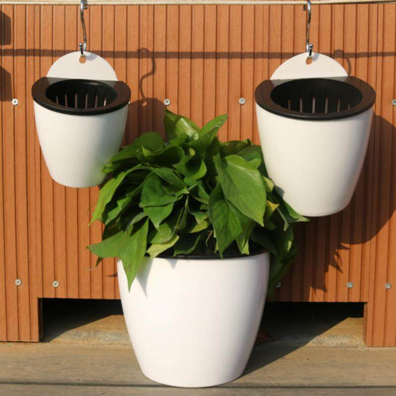 13cm Hanging Plastic Self-watering Plant Flower Pot Wall Planter Garden Decor