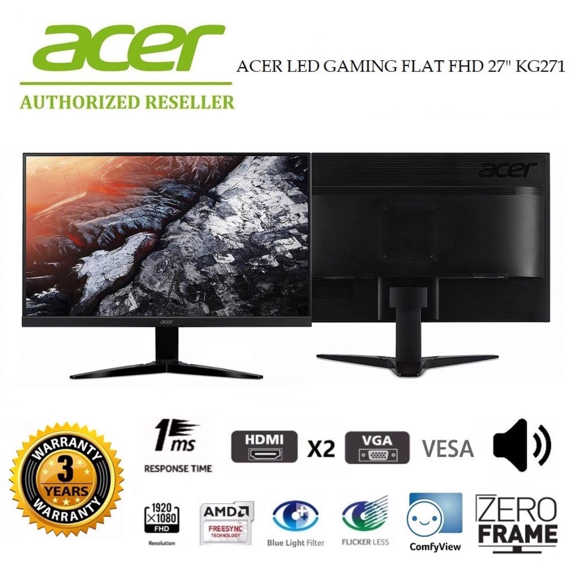GENUINE ACER LED GAMING FLAT FHD 27 KG271 LCD MONITOR (1MS/VGA/HDMIx2/VESA/SPK/FREE-SYNC/75GHZ) (UM.HX1SM.002) BLACK Malaysia