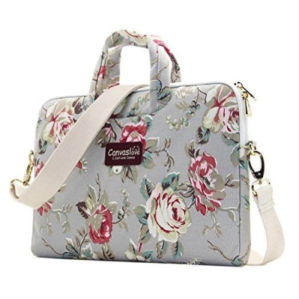 Canvaslove Grey Rose Pattern 15 inch Canvas Waterproof Laptop Shoulder Messenger Bag for 14 Inch to15.6 inch Laptop and Macbook Pro 15 laptop Case Malaysia