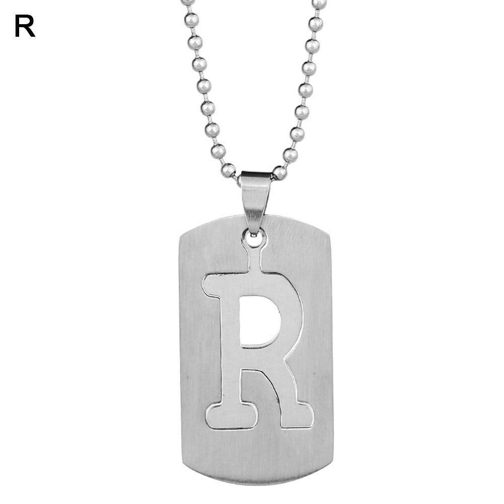 Phoenix B2C 26 Letters Alphabet Dog Tag Pendant Beaded Chain Punk Stainless Steel Necklace R
