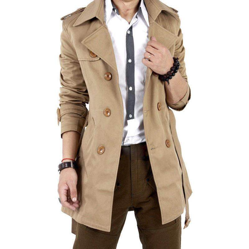 Dw Men Windbreaker Long Fashion Jacket With Double-Breasted Buttons Lapel Collar Coat By Dwn Store.