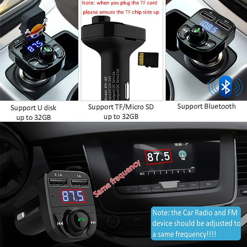 Car MP3 Audio Player Bluetooth Receiver FM Transmitter Wireless FM  Modulator HY82 Car Kit HandsFree LCD Display 3 1A Dual USB Charger for  iPhone