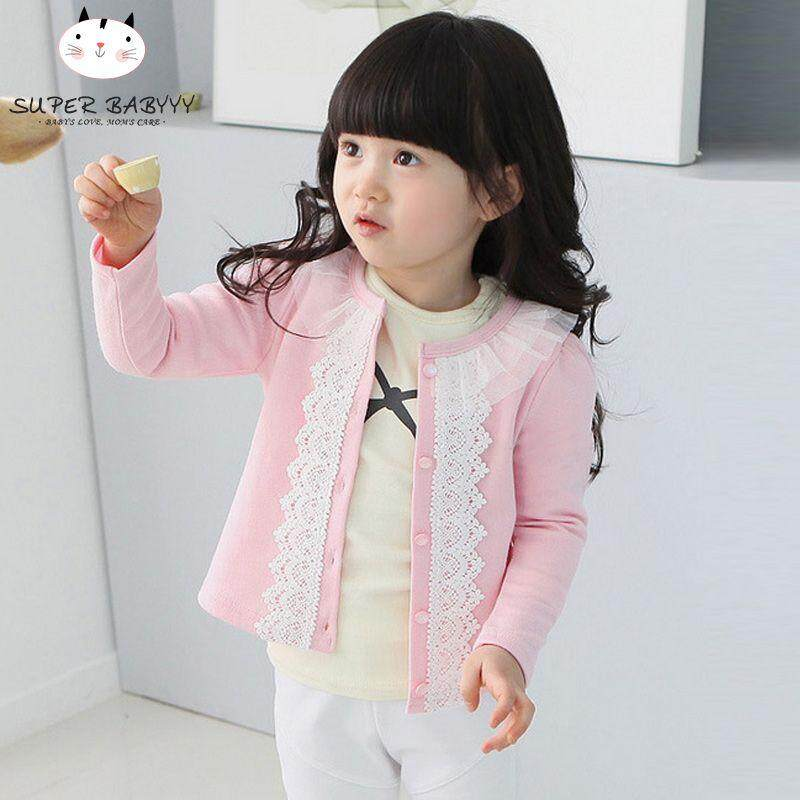 4d98fb5e288 SBY Autumn Spring Girls Cardigan Sweater Baby Infant Knitted Cardigans Lace  Splice Jacket Coat(Dark