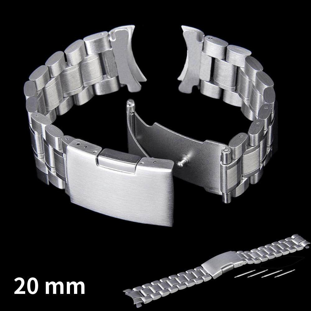 20mm Watch Strap Stainless Steel Solid Links Bracelet Strap Curved End With 4pcs Watch Pins Spring Bars (silver) By Pickegg.