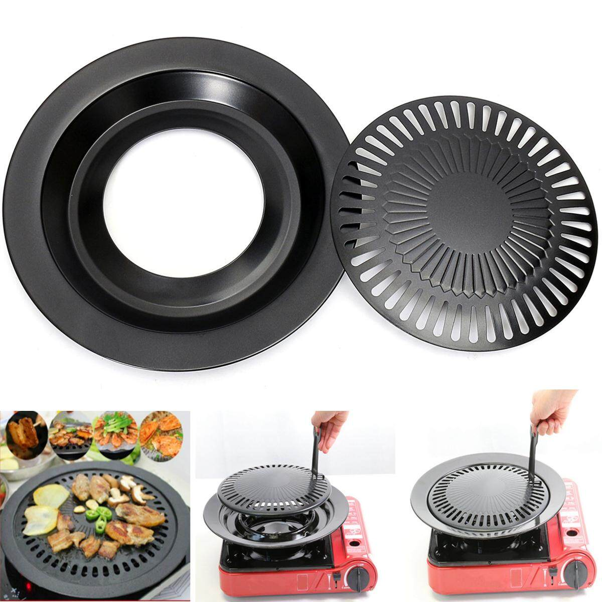 Round Iron Korean Bbq Grill Plate Barbecue Non Stick Pan Set With Holder