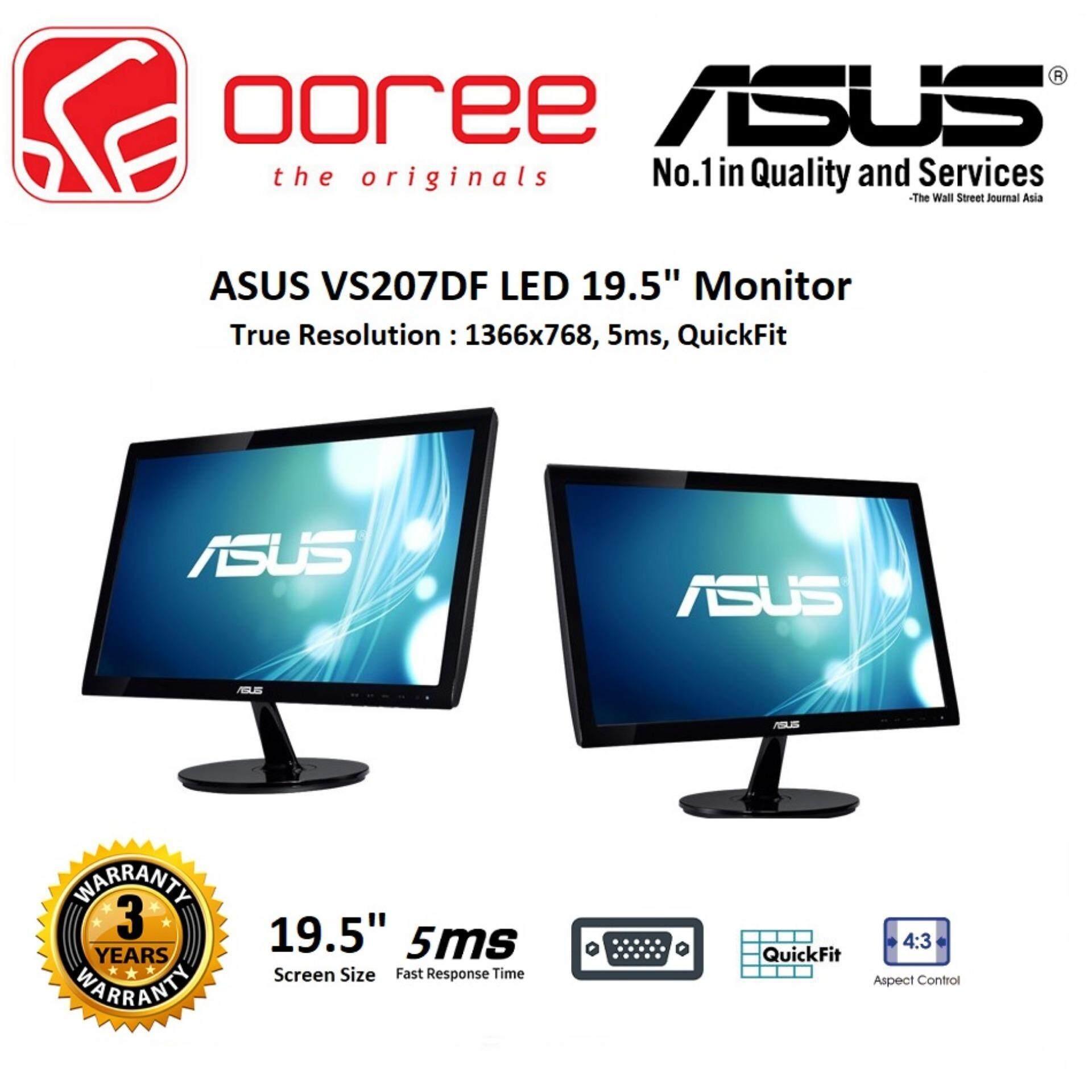 ASUS 19.5 VS207DF LED FLAT HD READY (RESOLUTION: 1366x768) TN LCD MONITOR (5MS RESPONSE TIME, VGA INPUT, NO SPEAKER, VESA WALL MOUNT) 3YEARS WARRANTY, BLACK COLOUR Malaysia