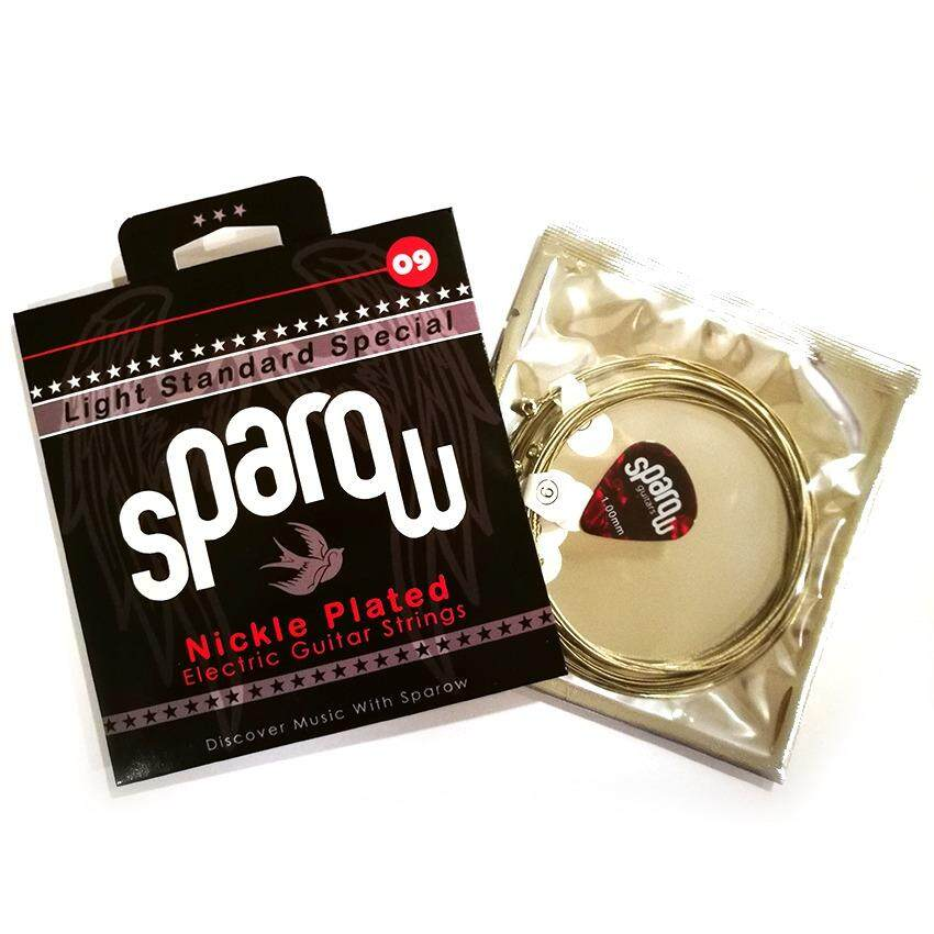 1 Set Sparow Strings For Electric Guitar + Free 1 Pick ( 6 X Strings 09 - 42 ) By Guitar Planet.