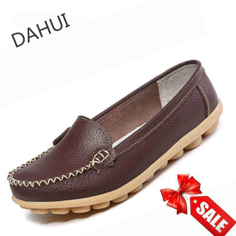 d1967c6074 Women Leather Shoes Slip-on Moccasin Mom Anti-skid Loafers (Brown)