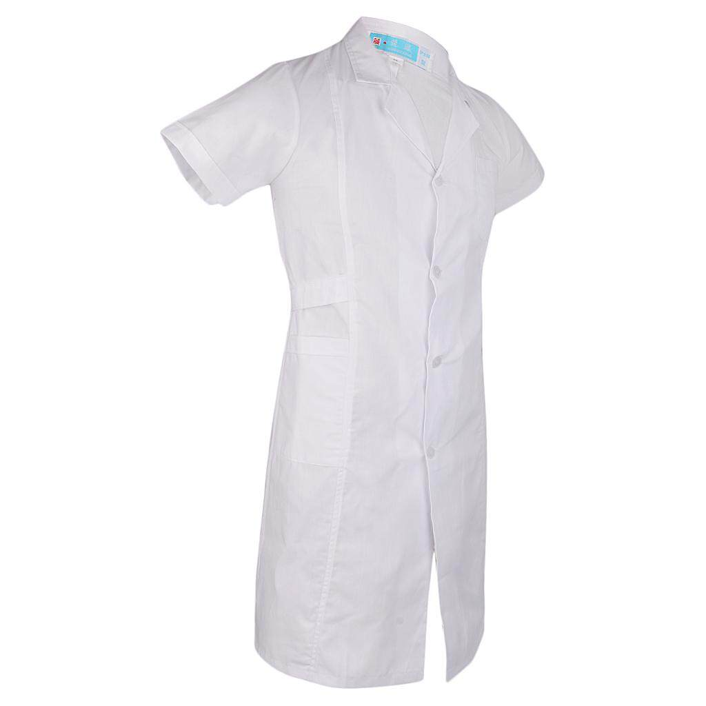 Miracle Shining Women White Scrubs Lab Coat Medical Nurse Doctor Uniform Lapel Neck S Short Sleeve-White
