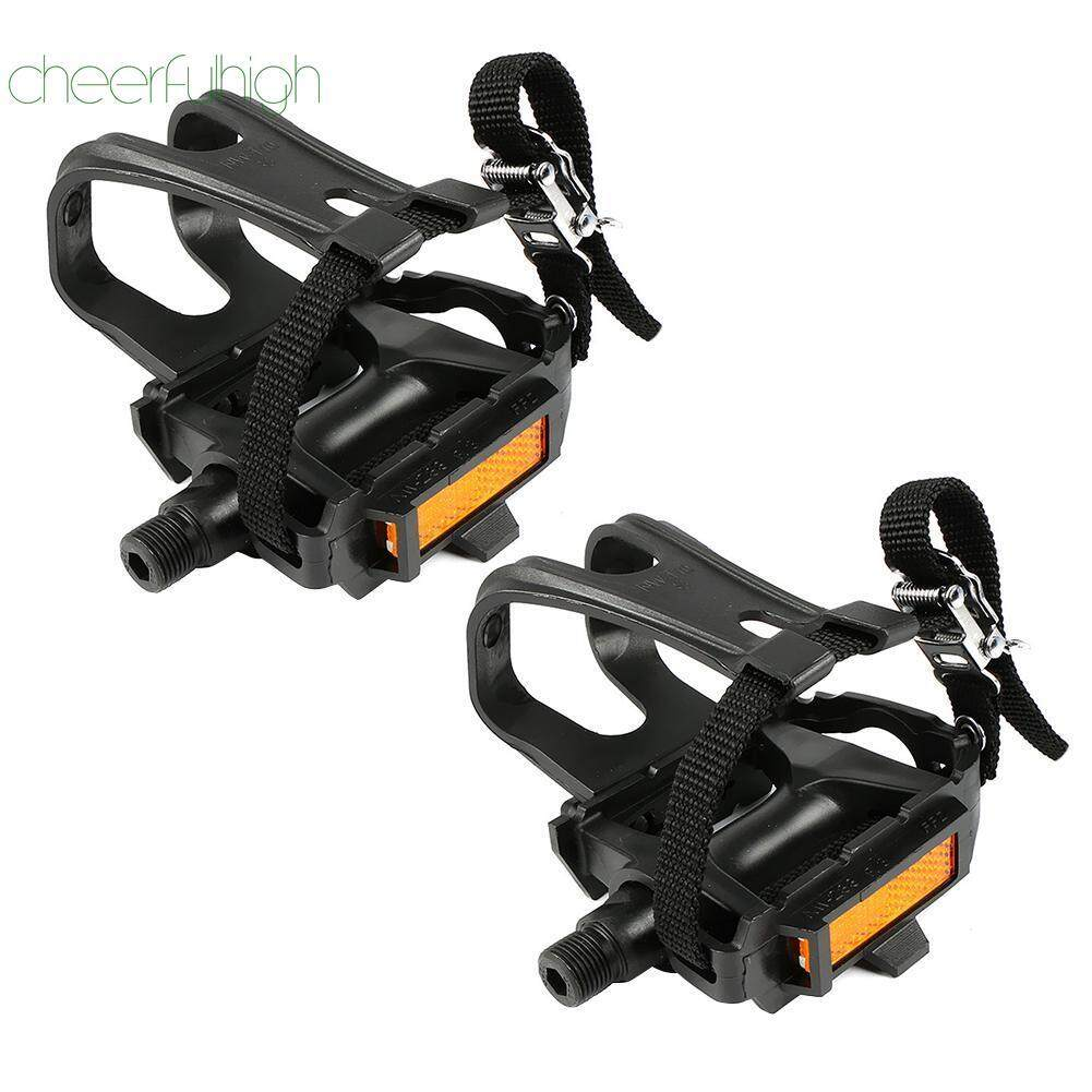 [cheerfulhigh]mountain Road Bike Fixed Gear Bicycle Pedals With Toe Clips Straps By Cheerfulhigh.