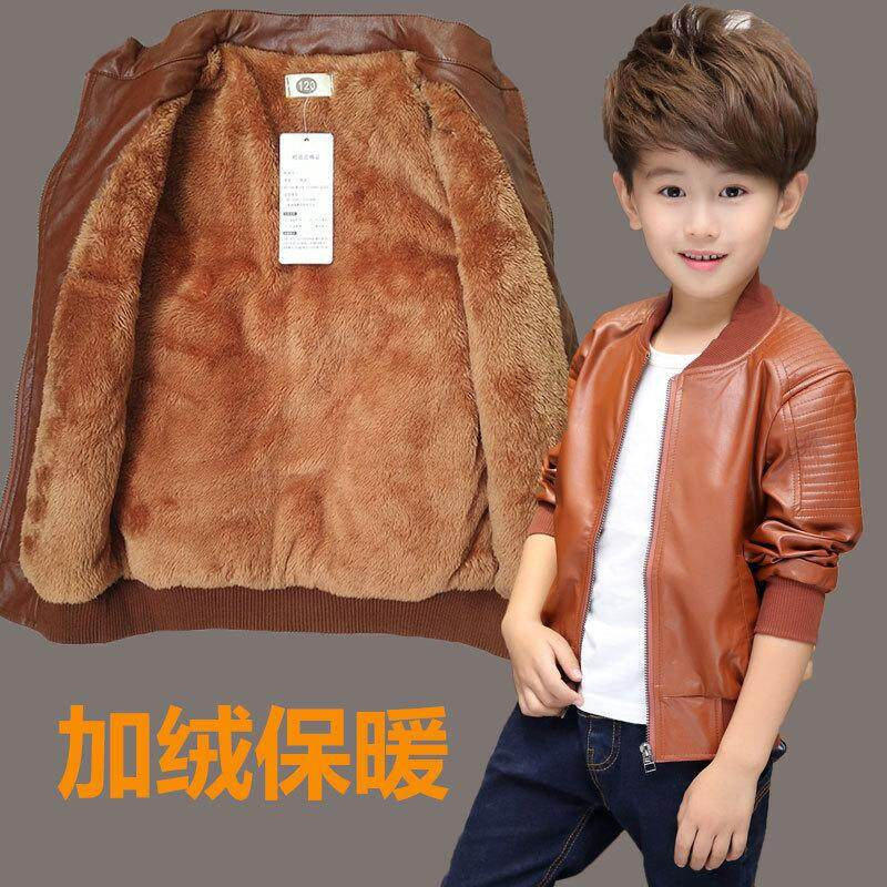 8027e078 Winter Thicken Boy Jacket Faux Leather PU Fashion Outerwear Baby Coat  Children Clothing Warm