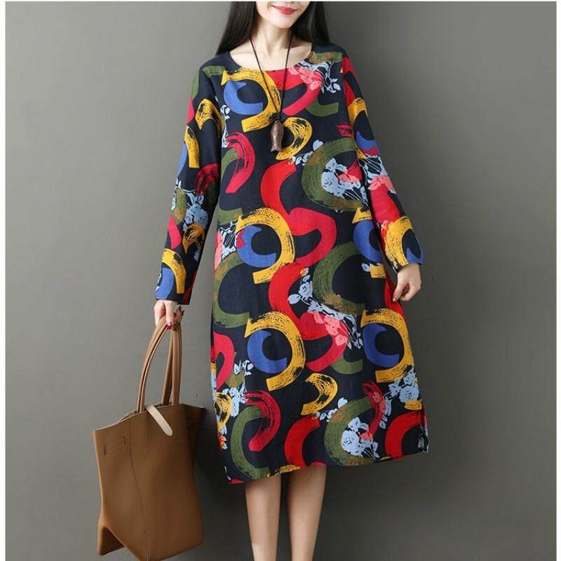44797f064f4 Vintage Stylish Women Clothing For Casual With Plus Size Long Sleeve Print Dresses  Loose Linen Long