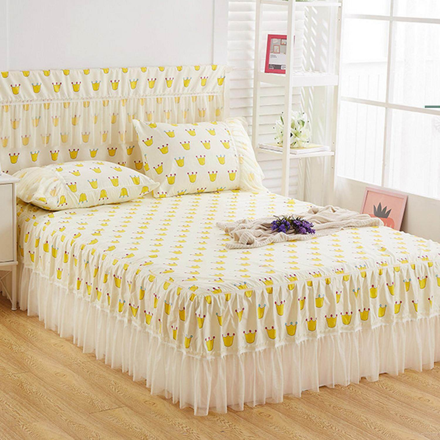 Attractive Lovely Pastoral Style Bed Sheet Lace Bed Skirt Girly Bedding Supplies For  Home Bedroom Hotel Dormitory