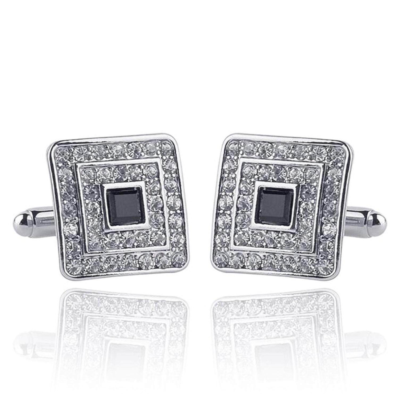 Fashion Shirt Cufflinks Diamonds Inlaid Cufflinks Delicate Men's Jewelry For Wedding Gift(Silver)