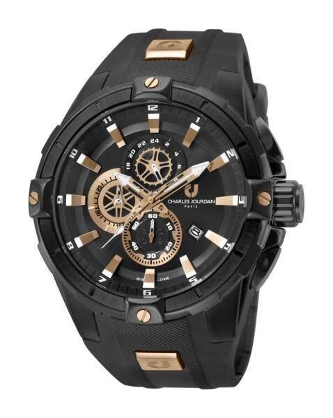 Charles Jourdan  Men Watch Jam Tangan Lelaki CJ1040-1732C Black Silicone Watch Malaysia