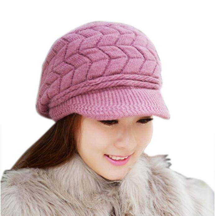1aee61f5e7ea2 Women Hat Winter Skullies Beanies Knitted Hats Rabbit Fur Cap Popular
