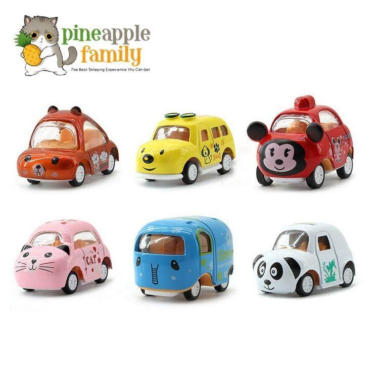 6pcs Set Pull Back Car Toys Assorted Mini Plastic Vehicle Set By Pineapple Family.