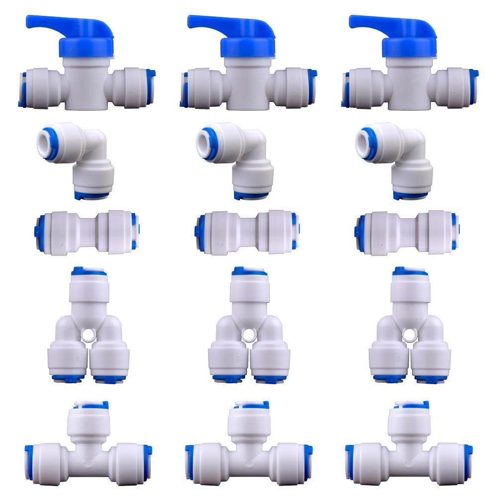 1/4 OD Quick Connect Push in to connect Water Tube Fitting Adaptor for RO Water Filter Water Dispenser Pipe Connectors Fitting Set of 15 (Ball Valve Y+T+I+L Type Combo)