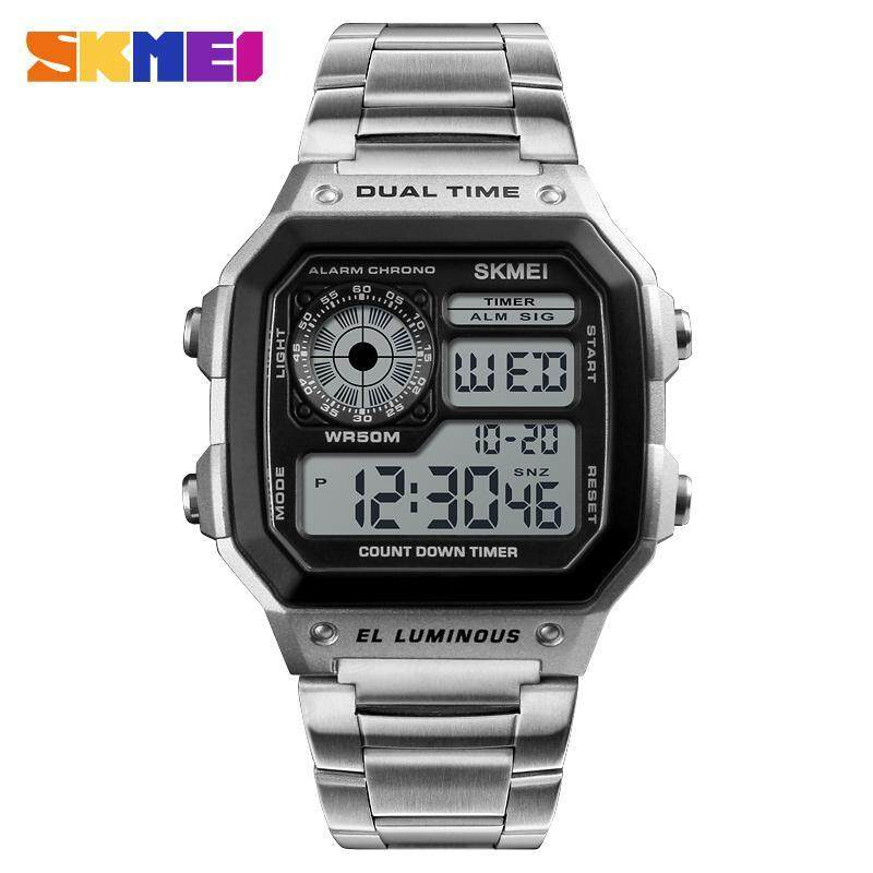 SKMEI 1335 Student Men Fashion Watch Sports Wristwatch Dual Time Countdown Stopwatch Alarm Snooze Hourly Chime Auto Calendar EL Backlight 50m Water Resistant Malaysia