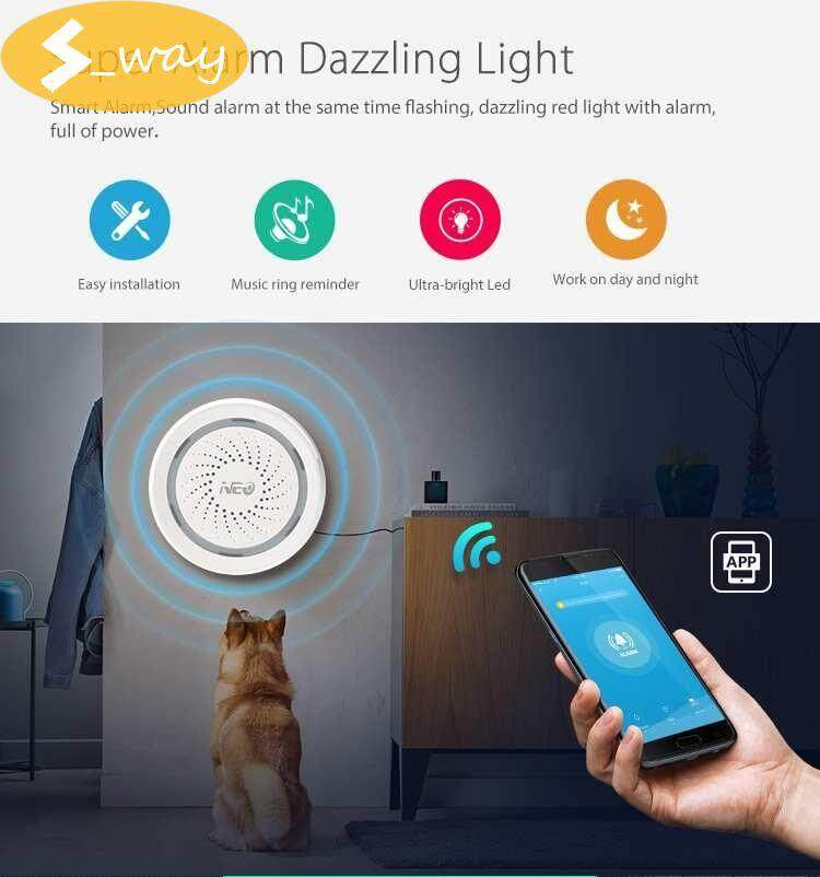 Sway NAS-AB02W Wireless Smart Home WiFi Siren Alarm Sensor Battery-Powered Can Be Charged with USB For Home Smart Device