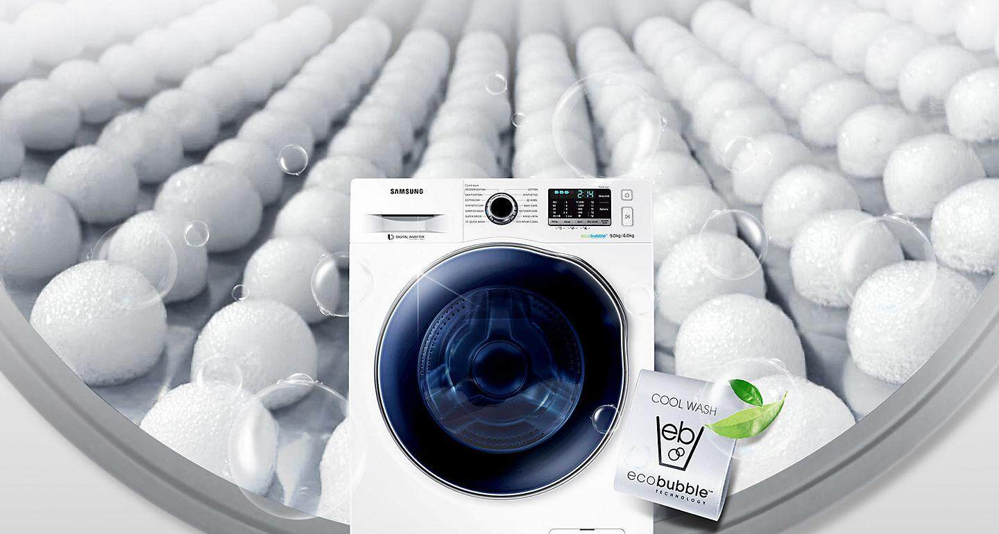 Save a huge amount of energy  by washing large loads at low temperatures  using Eco Bubble™ technology. Bubbles activate detergent 3fb18654af