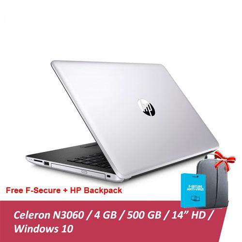 HP Notebook 14-bs537TU/ 14-bs538TU (Intel Celeron N3060 500GB 4GB Intel® HD)(Black/ Silver) [FREE] HP Backpack + F-Secure 1 Yr Client Security Malaysia