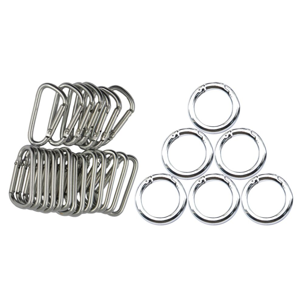 6pcs 25mm Round Carabiner Spring Snap Clip Hook Buckle Keychain Keyring Finding