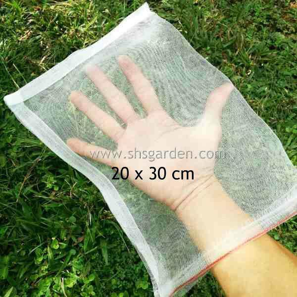 Medium Garden Fruit Net  (20x30cm) Wrap Fruits Protect from Insects and Birds Pest Control Mesh Bag With Drawstring Better Than Organza Bags (SHS Kebun)