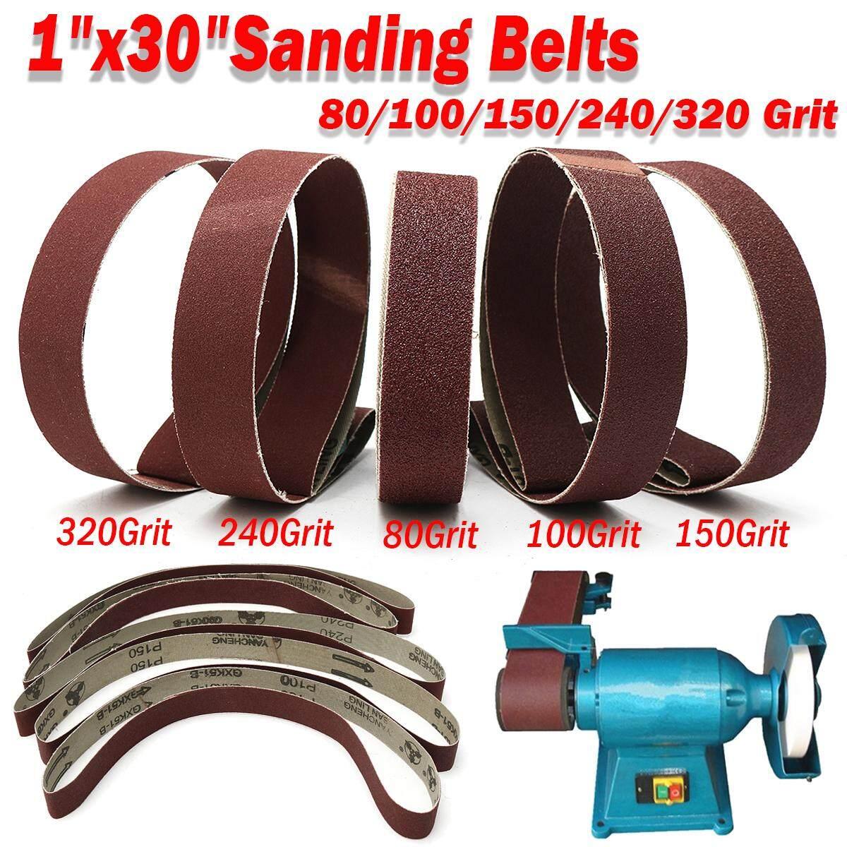 5Pcs 1x30 Sanding Belts 80/100/150/240/320 Grit Aluminum Oxide Sander Abrasive