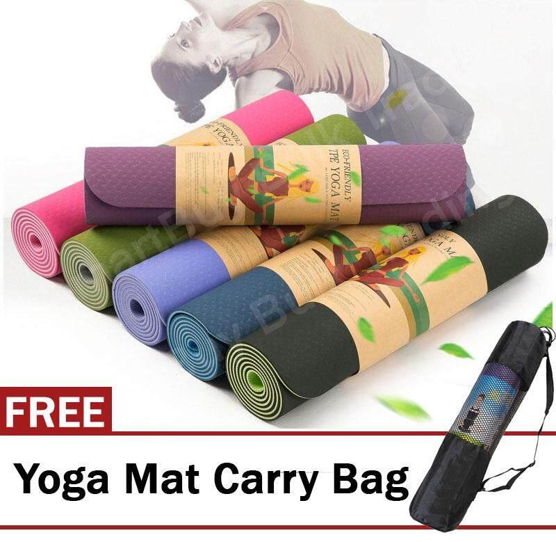 Tpe Yoga Mat 6mm High Elasticity Anti-Skidding Dual Color By Smartbuy Bulk Trading.