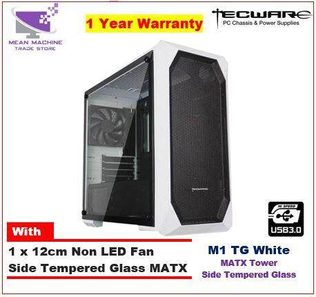 #Tecware M1 TG White Tempered Glass MATX Gaming Chassis ( With 1 X Fan)# Malaysia