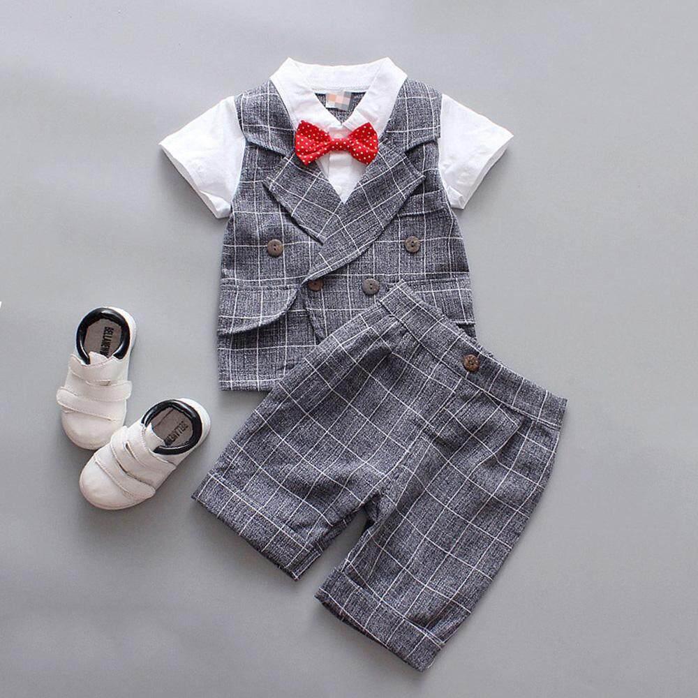 3335b9ea20a76 Flower Boys Kids Wedding Formal Short Sleeve Shirt Suits Vest Shirt +  Shorts Set Red Bow