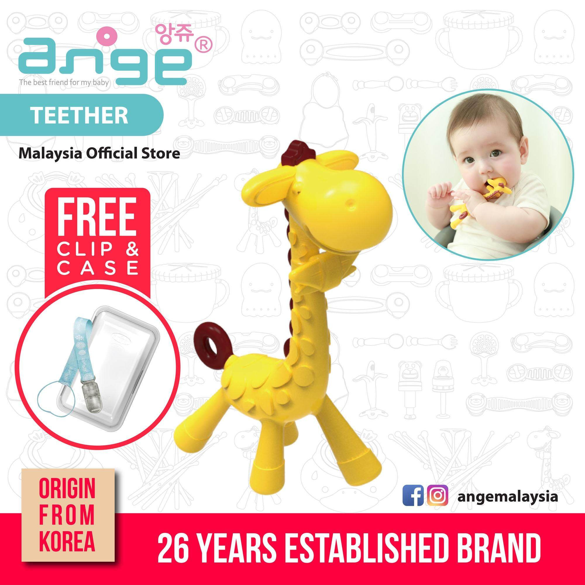 Korea Ange Giraffe Teether with Soft Sensory BPA Free Silicone, Clip & Case