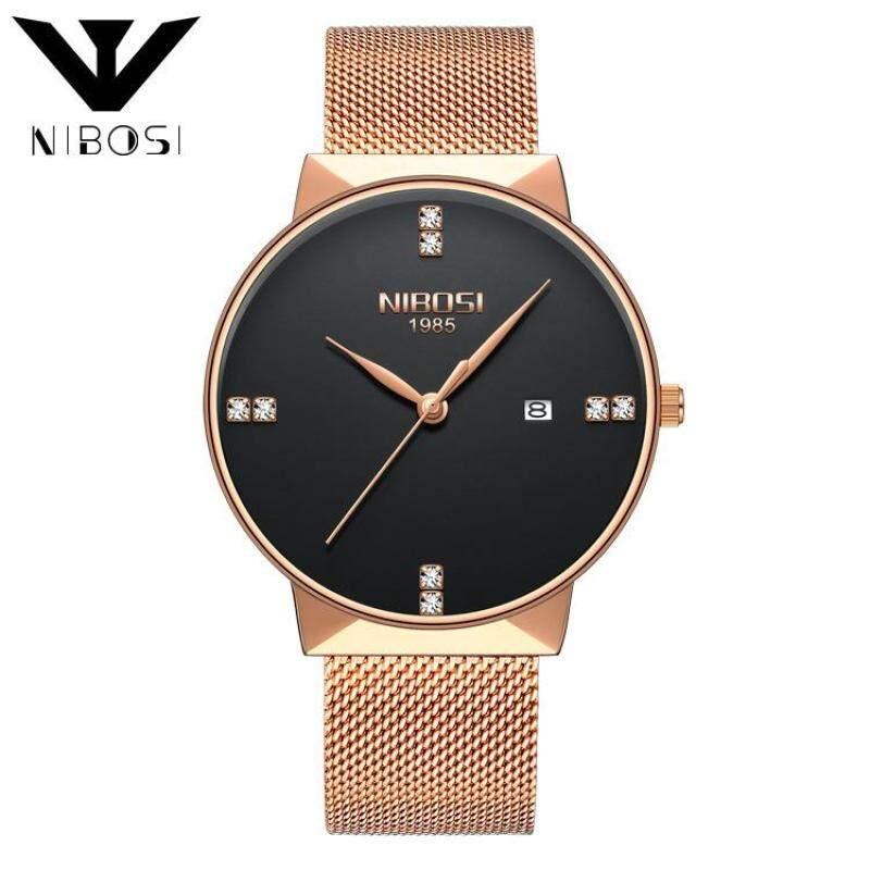 Nibosi 2323 Luxury Diamonds Alloy Mesh Band Unisex Quartz Wristwatches (Rose Gold Band-Black) Malaysia