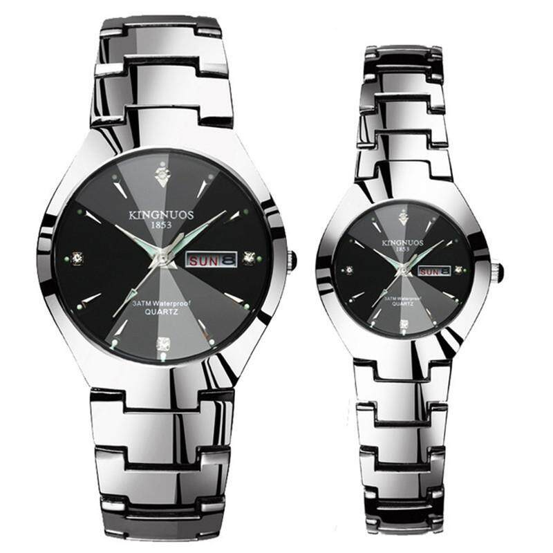 1 Pair Couple Watches Date Week Stainless Steel Clock Quartz Watch For Men Women Luminous Lover Wristwatch Malaysia