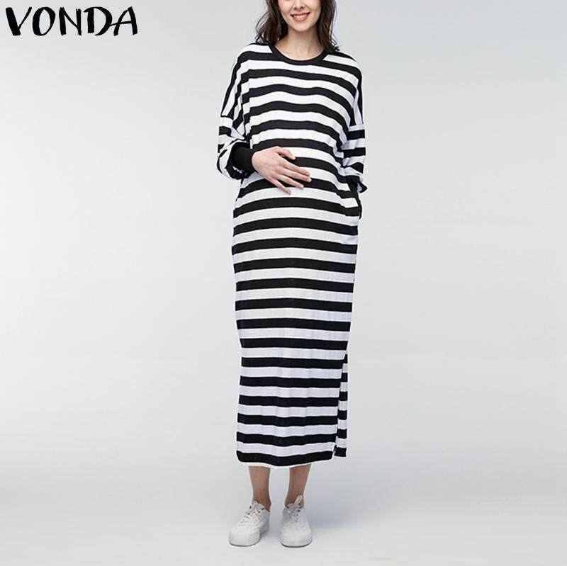 101788c4682 VONDA 2018 Pregnant Dresses For Women Casual Loose Maxi Long Bawting Sleeve  Split Striped Maternity Dress