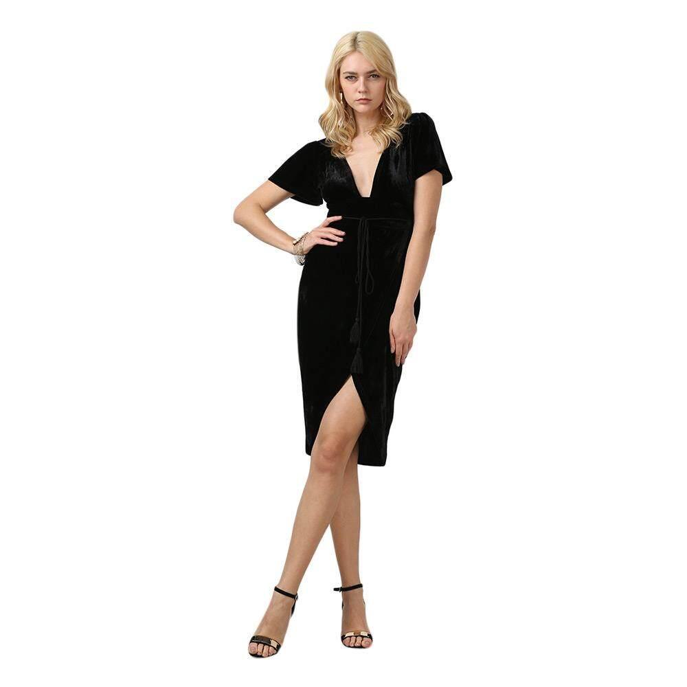 Zaful Brand Brief Short Sleeve Plunge Neck High-low Hem Velvet Dress for Women