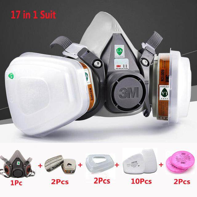 3M6200 17 In 1 Suit Half Face Painting Spraying Respirator Gas Mask Safety Work Filter Dust Mask